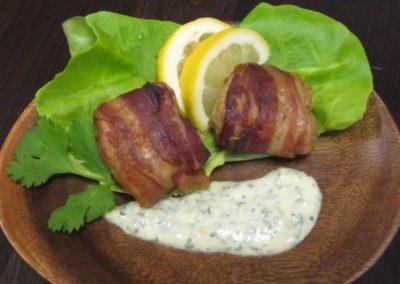 Bacon Wrapped Saltfish With Tamarind Mayo