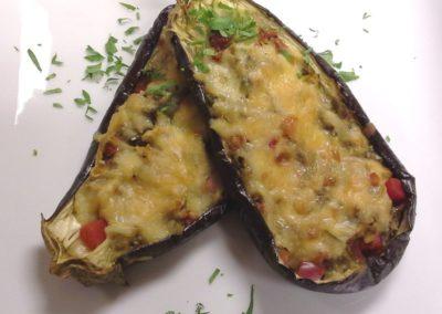 Eggplant Stuffed Bacalao